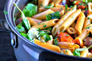 Penne with veggies
