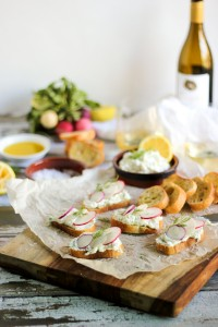 radish and ricotta crostini