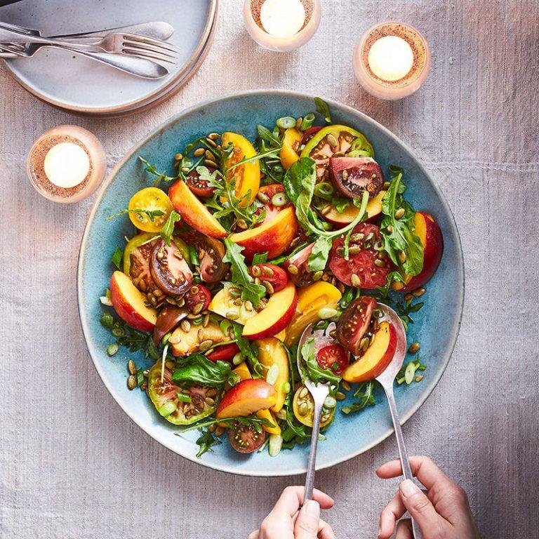 tomato nectarine salad ultra premium olive oils aged balsamic vinegars